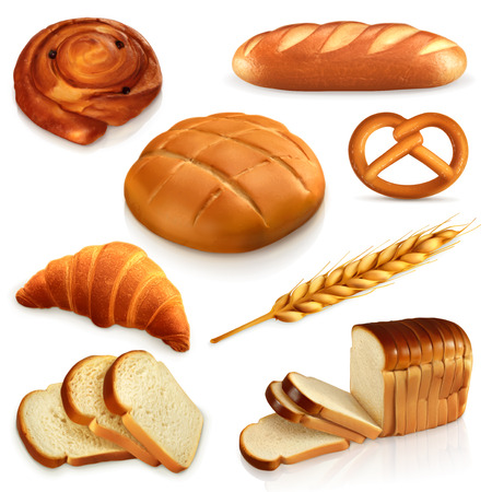 croissants: Set ith bread, vector icons , isolated on white background Illustration