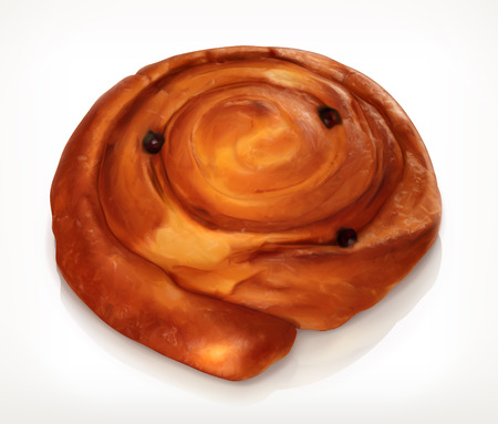 raisin: Danish pastry, bakery vector icon, isolated on white background