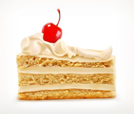 porcion de pastel: Pedazo de la torta con la cereza, icono de vector, aislado en fondo blanco Vectores