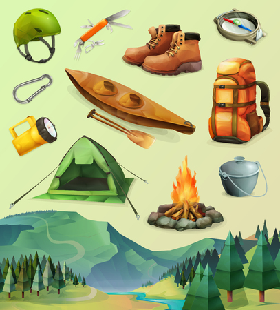 canoeing: Set with camp vector icons, low poly style Illustration