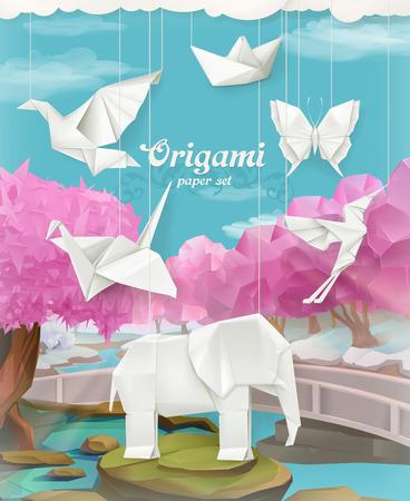 paloma caricatura: juego de papel de Origami, vector de fondo con los animales