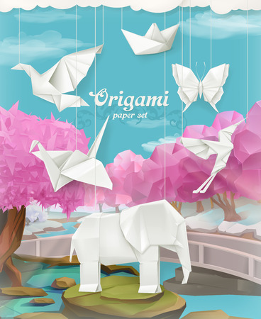 3d paper art: Origami paper set, vector background with animals