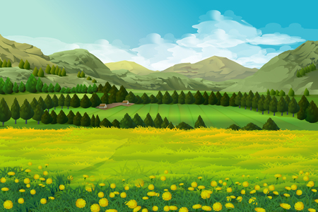cartoon land: Spring landscape vector illustration background