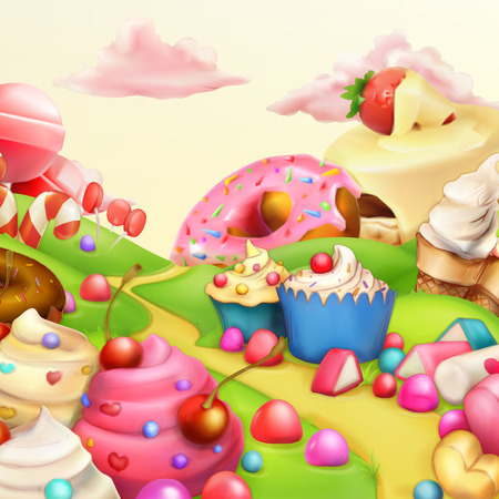 Sweet landscape vector illustration background Ilustração