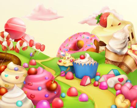 candies: paisaje dulce, ilustración vectorial