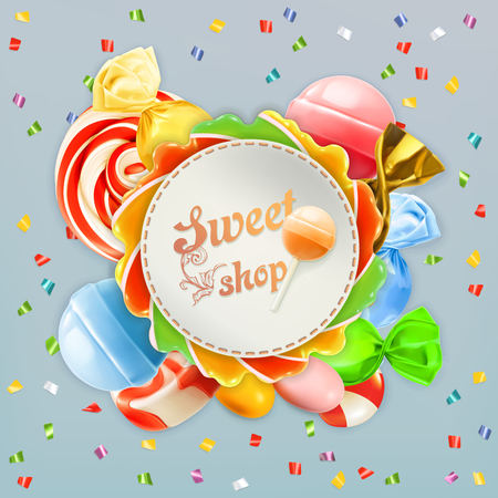 unhealthy food: Sweet shop candy vector label