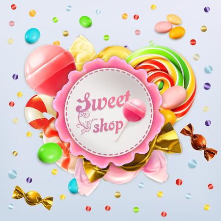 azucar: tienda de dulces de caramelo etiqueta vector Vectores