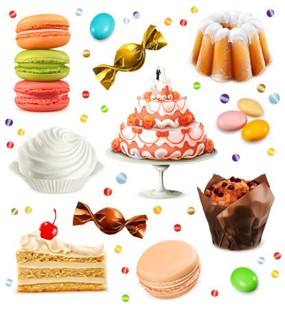 porcion de pastel: Set con los iconos dulces vector