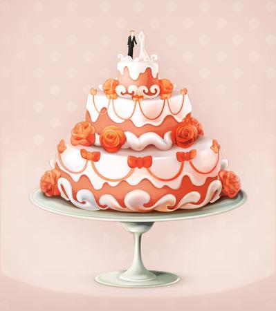 cake plate: Wedding cake  vector illustration icon Illustration