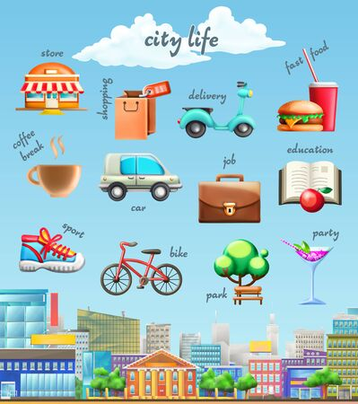 fast food: Set with city life, vector icons