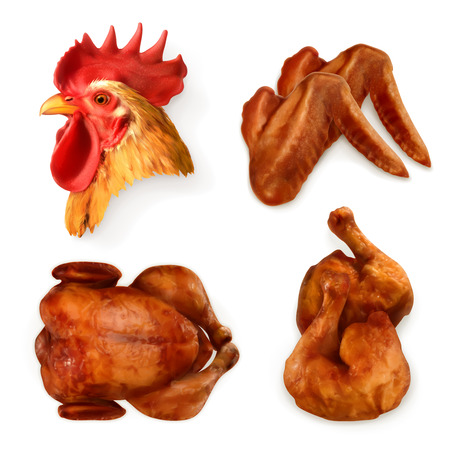 roast chicken: Set with grilled chicken, icons Illustration