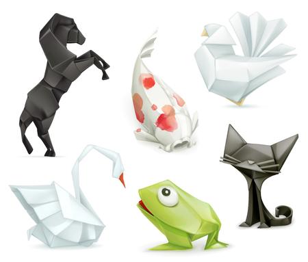 3d dove: Origami set animals icons Illustration