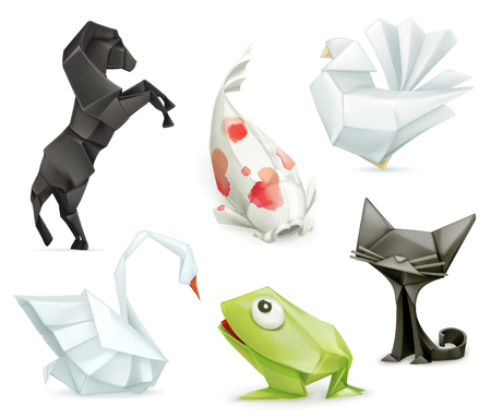 Origami set animals icons Illustration