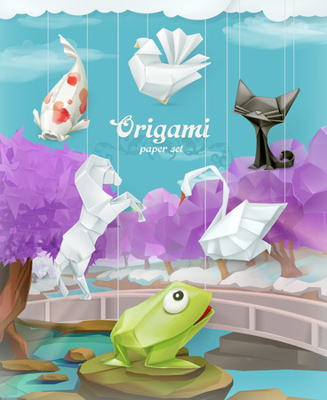 3d dove: Origami paper animals set, background