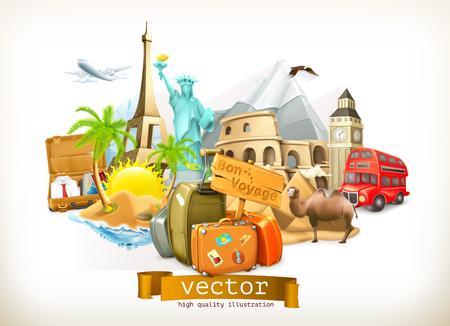 Set con viaggio, icone illustrazione