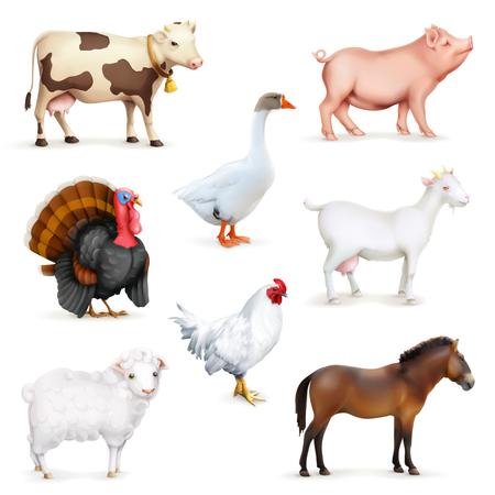 cabras: Animales y aves, juego de granja de iconos, aisladas en fondo blanco