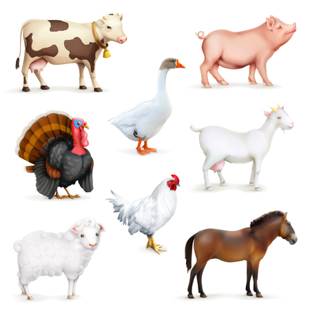 zoo cartoon: Animals and birds, farm set of icons, isolated on white background