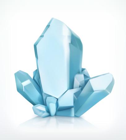 gemstones: Blue crystal, icon, isolated on white background