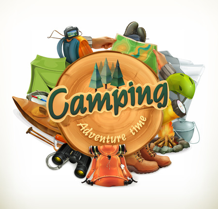 backpack: Camping, adventure time illustration