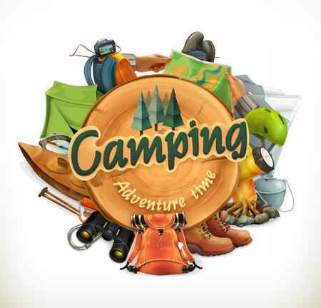 barco caricatura: Camping, tiempo de aventura ilustración