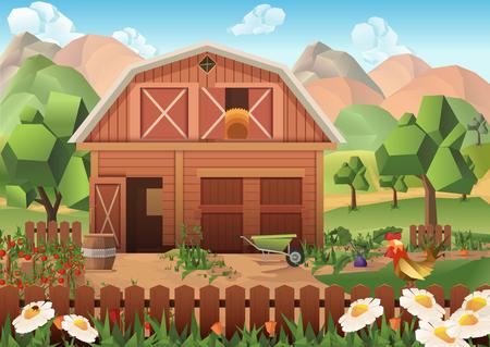 Farm low poly, background