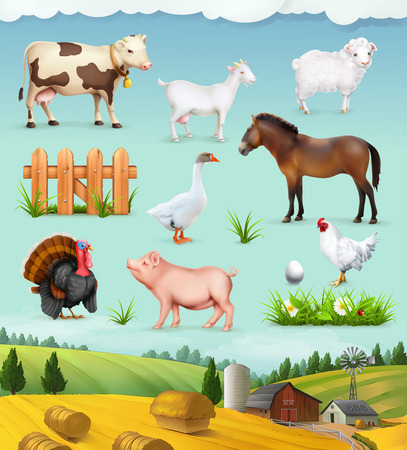 animal: Farm, animals and birds set of icons Illustration