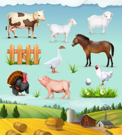 dieren: Landbouwbedrijf, dieren en vogels set van pictogrammen