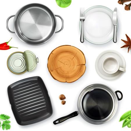 steel pan: utensilios de cocina, vista desde arriba, objetos aislados sobre fondo blanco Vectores