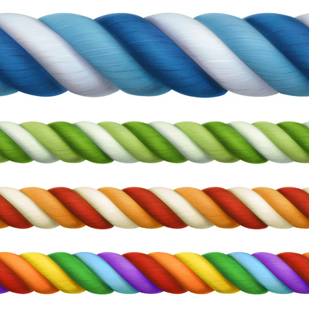 twisted: Multicolored ropes, design elements seamless horizontal