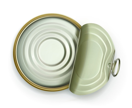 tin can: Open tin can, top view icon, isolated on white background