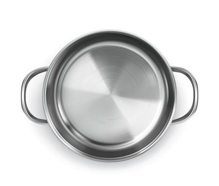 steel pan: Pan, vista desde arriba objeto, aislado en el fondo blanco