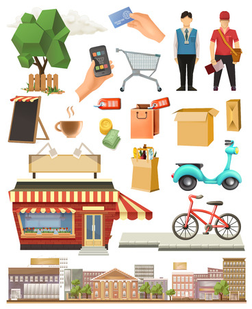 commercial tree service: Shop, low poly icon set, isolated on white background Illustration