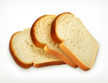 pan de trigo fresca rebanada aislada en el fondo blanco, icono de la panadería