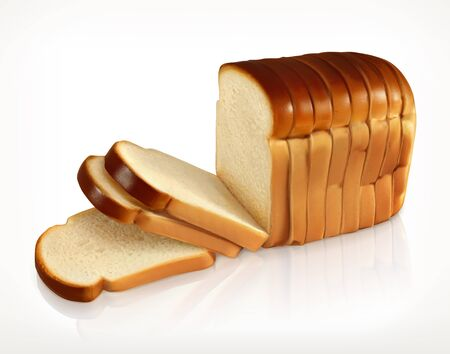 crusty: Bread, bakery icon, sliced fresh wheat bread isolated on white background