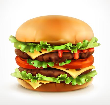 juicy: Big burger, vector icon, isolated on white background Illustration