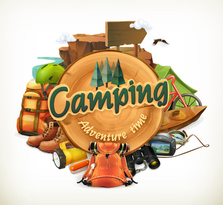 Camping adventure time vector illustration, isolated on white background Vettoriali