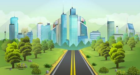 도시와 자연, 벡터 풍경 일러스트