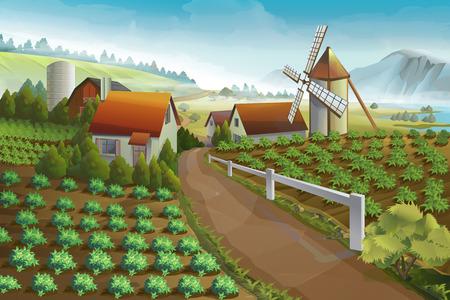 농장 농촌 풍경, 벡터 배경