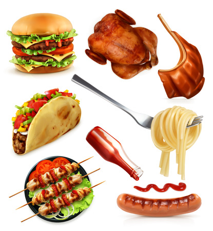 Fast food, set vector icons, isolated on white background 일러스트