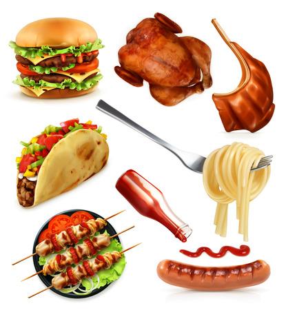 étel: Gyorsétterem, meg vektor ikonok, elszigetelt, fehér, háttér Illusztráció