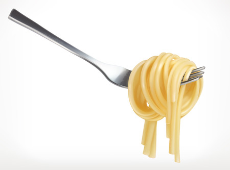 Pasta on fork, vector icon, isolated on white background Vectores
