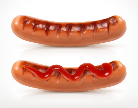 saucisse: Saucisse grillée, vecteur, icône, isolé sur fond blanc