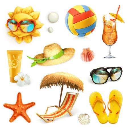 praia do verão, conjunto de ícones do vetor, isolado no fundo branco