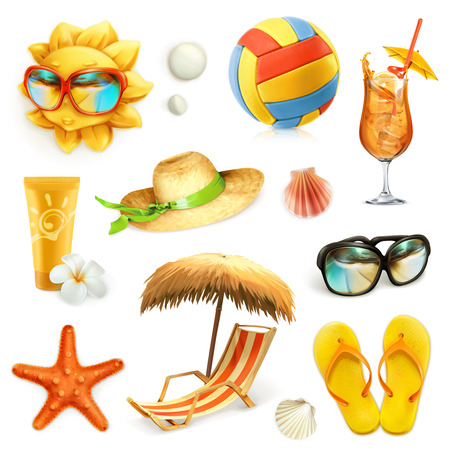 sea shells on beach: Summer beach, set of vector icons, isolated on white background