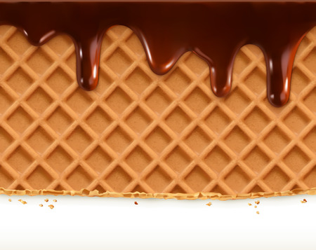 Waffles and chocolate, vector seamless horizontal pattern