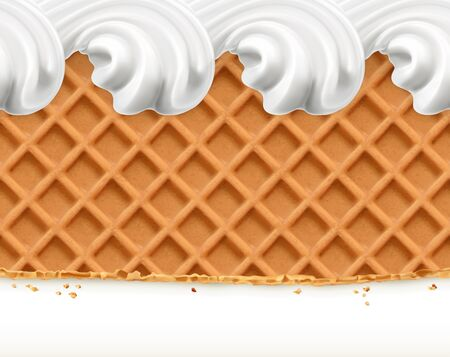 Waffles and ice cream, horizontal seamless vector pattern 일러스트