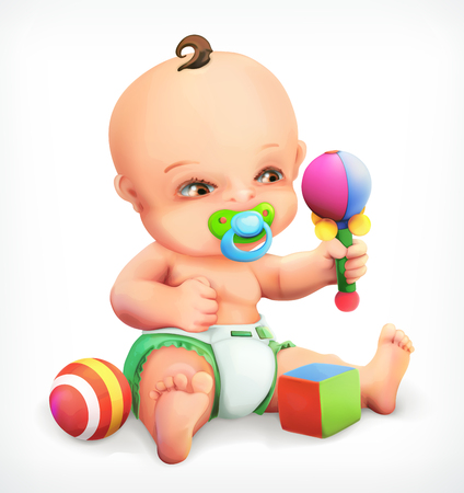 maraca: Kid with a rattle, baby with pacifier, an infant in nappies, a little boy exploring his toys are maraca, vector icon Illustration