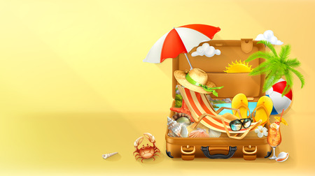 Beach vacation. Summer background, vector illustration