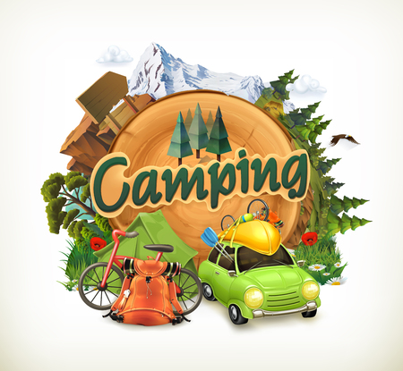 Camping, adventure time, vector illustration