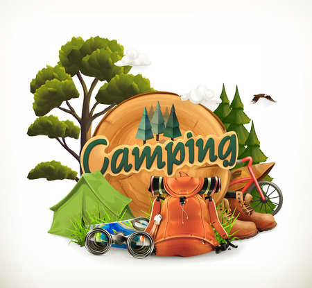 Camping. Adventure time, vector illustration Stok Fotoğraf - 55856642
